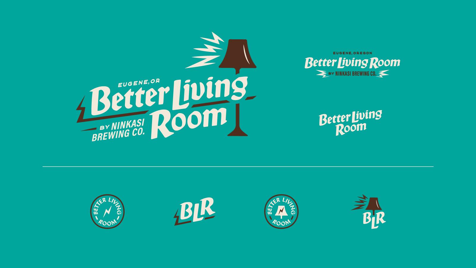 Logo grid of Better Living Room logo variations