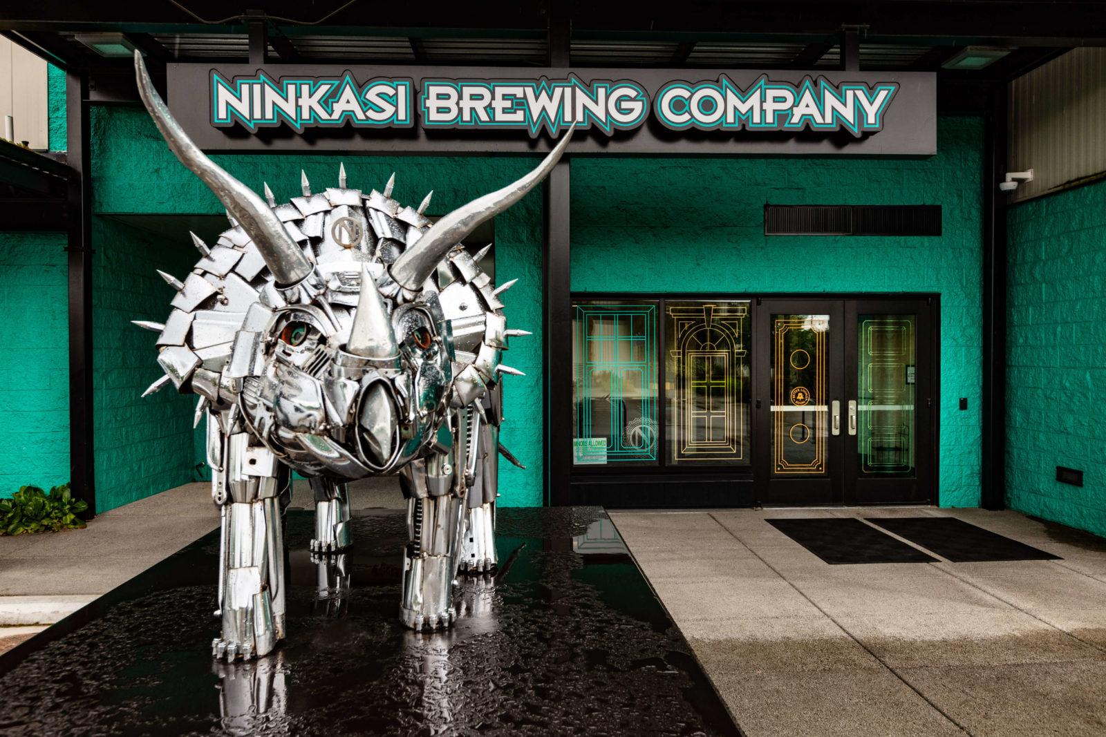 Ninkasi Better Living Room triceratops sculpture entrance