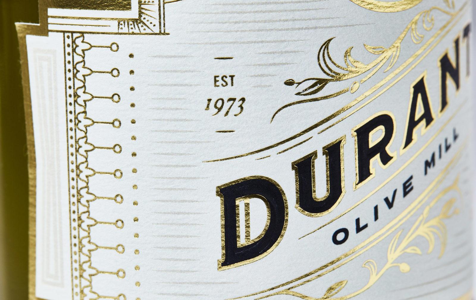 Detail of Durant Olive Oil label