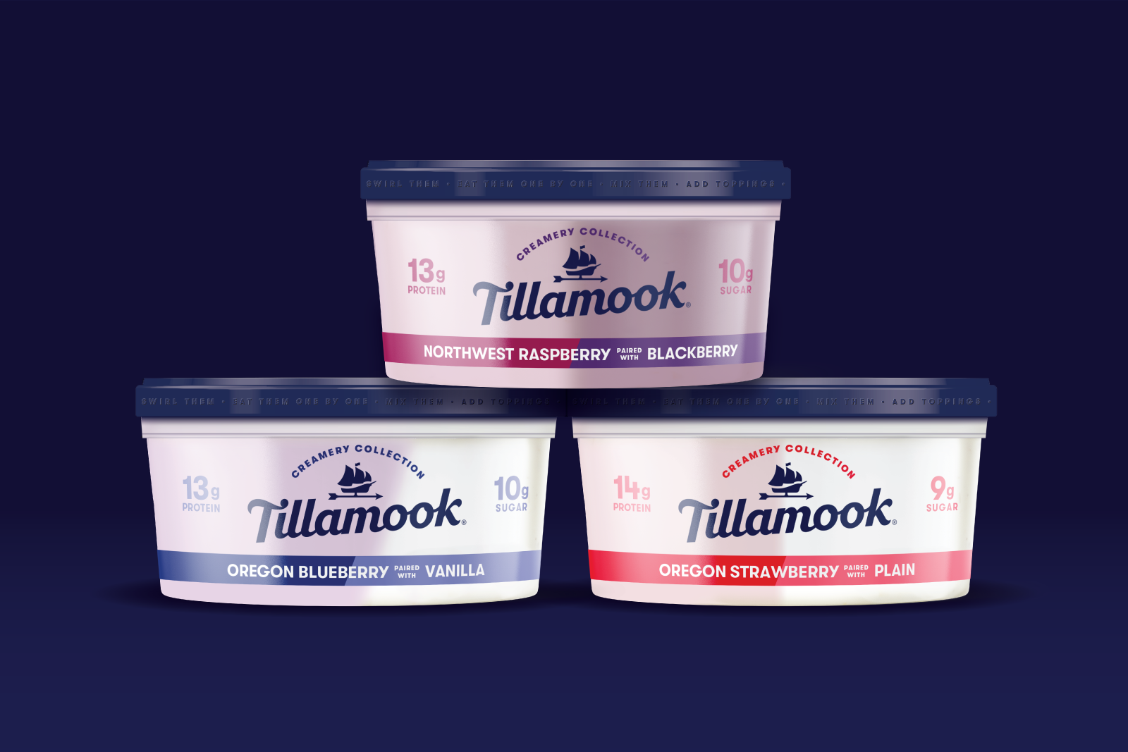 Stacked Tillamook yogurt containers